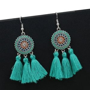 New Teal Tassel Earrings Round